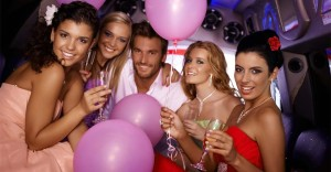 Champagne and pretty girls with American Luxury Limo