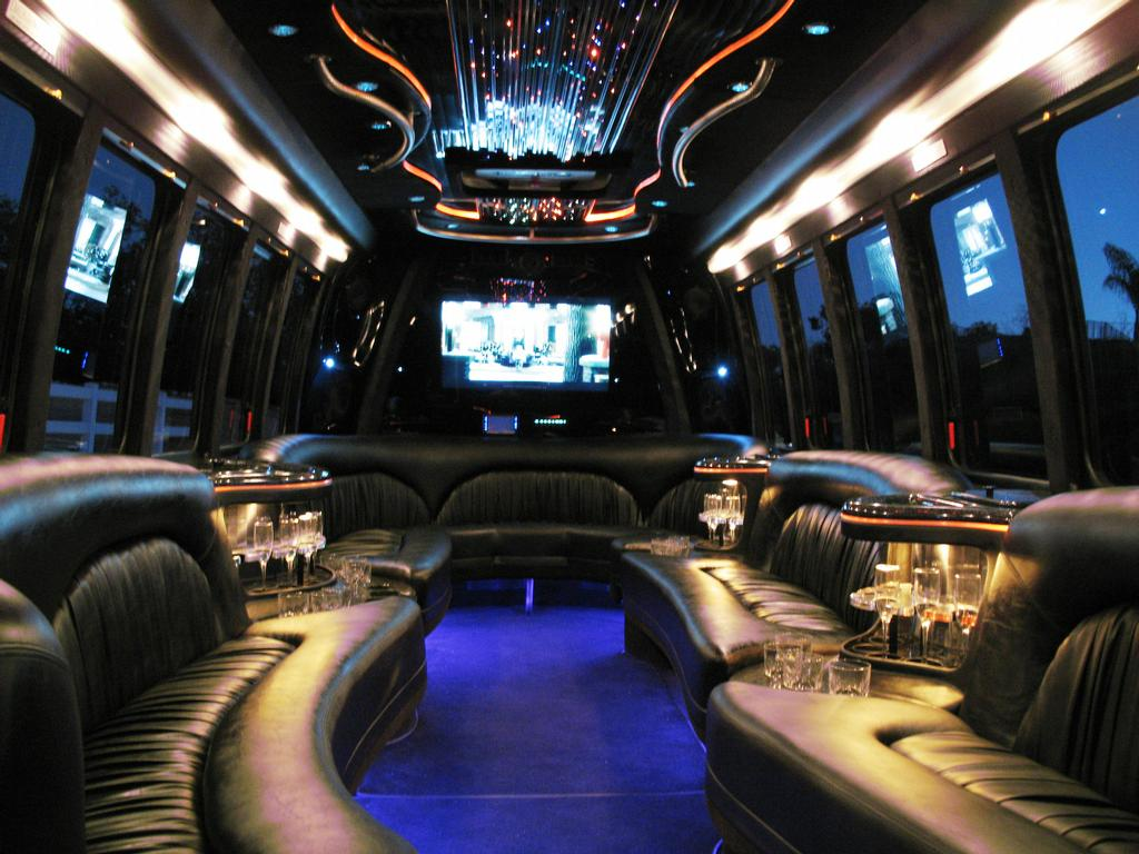 Limo bus luxury interior Ventura County Limousine